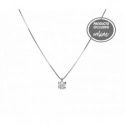 Colgante de oro blanco de 18 quilates y diamante con cadena - 539-00203