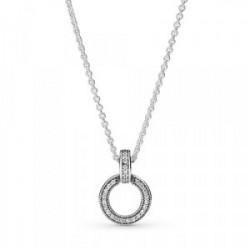 Collar en plata de ley Colgante Doble Círculo - 399487C01-45