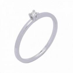 Solitario oro blanco y diamante 0,04 cts - 364212HSI