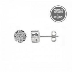 Pendientes de oro blanco roseta de diamantes - 247-00186