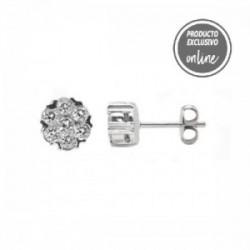 Pendientes de oro blanco roseta de diamantes - 247-00207