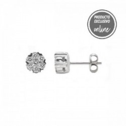 Pendientes de oro blanco roseta de diamantes - 247-00313