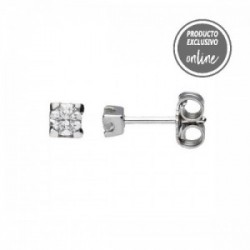 Pendientes de oro blanco y diamante - 539-00097