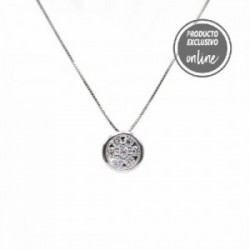 Colgante de oro blanco y diamantes con cadena - 297-01648