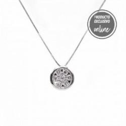 Colgante de oro blanco y diamantes con cadena - 297-01649