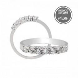 Mitja aliança d´or blanc de 18 quirats amb 7 diamants - 245-00120