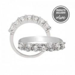 Media alianza de oro blanco con 7 diamantes - 245-00136