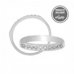 Media alianza de oro blanco con 11 diamantes - 245-00368