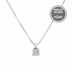 Colgante de oro blanco de 18 quilates y diamante con cadena - 539-00037