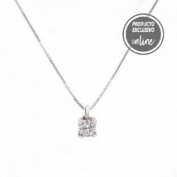 Colgante de oro blanco y diamante con cadena - 539-00039