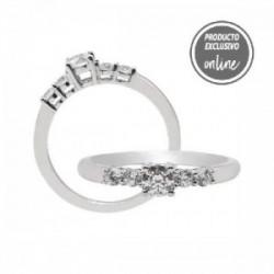Anillo de oro blanco y diamantes - 247-00453