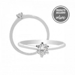 Solitario de oro blanco y diamante - 317-01303