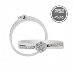 Anillo de oro blanco y diamantes - 247-00643