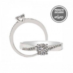 Anillo de oro blanco y diamantes - 247-00648