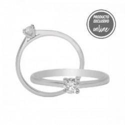 Solitario de oro blanco y diamante - 317-01325