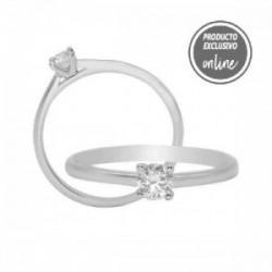 Solitario de oro blanco y diamante - 317-01326