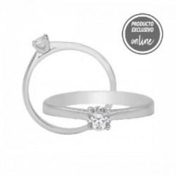 Solitario de oro blanco y diamante - 317-01327