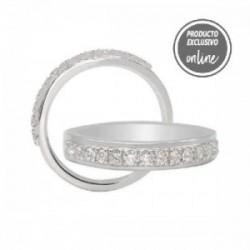 Media alianza de oro blanco de 18 quilates con 15 diamantes - 247-00976