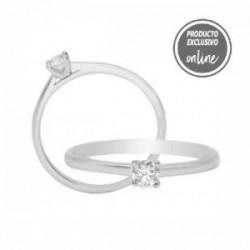 Solitario de oro blanco y diamante - 317-01419