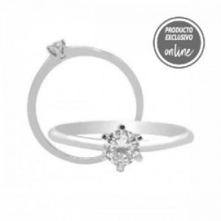Solitario de oro blanco y diamante - 317-01454