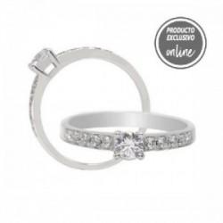Anillo de oro blanco y diamantes - 247-01050