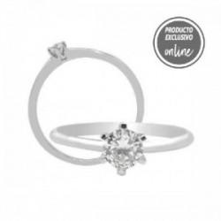 Solitario de oro blanco y diamante - 317-01455