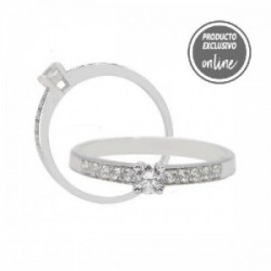 Anillo de oro blanco y diamantes - 247-01230