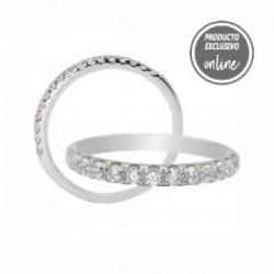 Media alianza garras de oro blanco de 18 quilates y diamantes - 297-01459