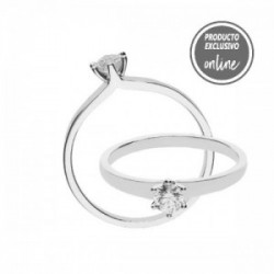 Solitario de oro blanco y diamante - 317-01567