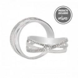 Anillo cruzado de oro blanco y diamantes - 297-01615