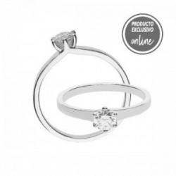 Solitario de oro blanco de 18 quilates y diamante - 317-01569