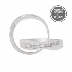 Anillo cruzado de oro blanco y diamantes - 302-00366