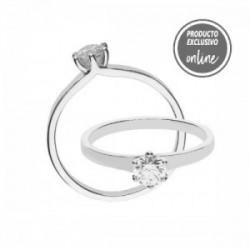 Solitario de oro blanco y diamante - 317-01570
