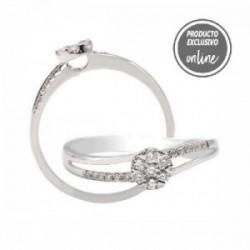 Anillo de oro blanco y diamantes - 297-01451