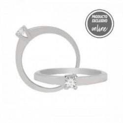 Solitario de oro blanco y diamante - 317-00156