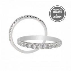 Media alianza garras de oro blanco de 18 quilates y diamantes - 297-01458