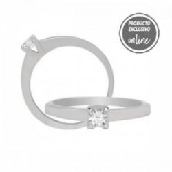 Solitario de oro blanco y diamante - 317-00157