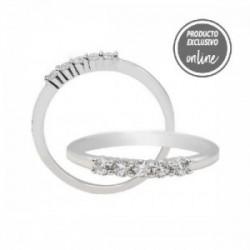 Media alianza garras de oro blanco de 18 quilates y 5 diamantes - 317-01006