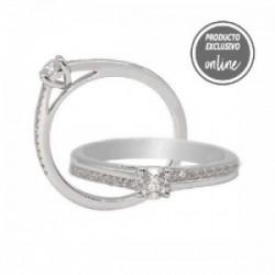 Anillo de oro blanco y diamantes - 317-01079