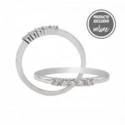Media alianza garras de oro blanco de 18 quilates y 5 diamantes - 317-01125