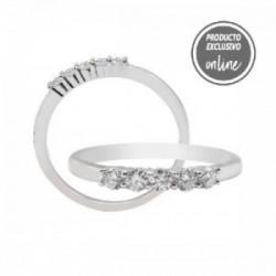 Media alianza garras de oro blanco de 18 quilates y 5 diamantes - 317-01127