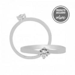 Solitario de oro blanco y diamante - 317-01295