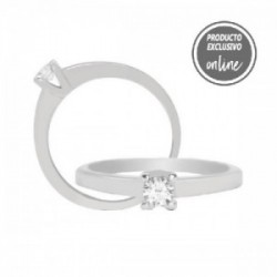 Solitario de oro blanco y diamante - 317-00382