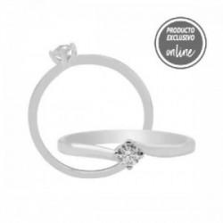 Solitario de oro blanco de 18 quilates y diamante - 317-01296