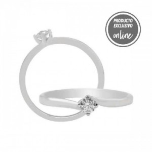 Solitario de oro blanco y diamante - 317-01296