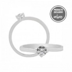 Solitario de oro blanco y diamante - 317-01297