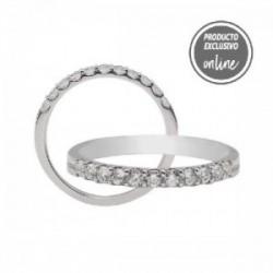 Media alianza garras de oro blanco y diamantes - 470-00326
