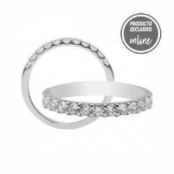 Mitja aliança grapes d´or blanc de 18 quirats i diamants - 470-00327
