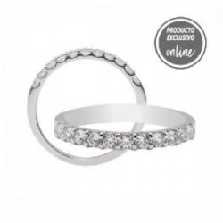 Media alianza garras de oro blanco y diamantes - 470-00327