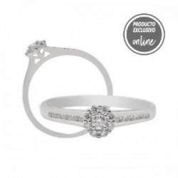 Anillo de oro blanco y diamantes - 470-00415